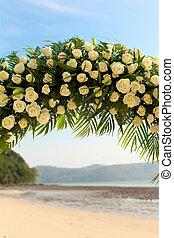 式, 花, 結婚式, 浜。, 整理