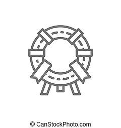 式, 記念, 葬式, 花輪, ベクトル, 線, icon.