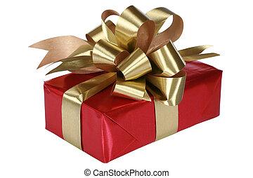 弓, プレゼント, 金, 赤