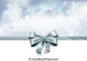 弓, 以及, 雪花, 聖誕節, 背景