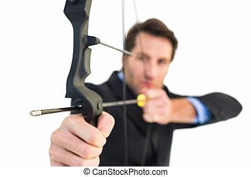 弓, 終わり, 矢, 射撃, ビジネスマン, の上