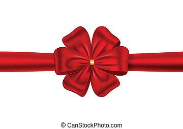 弓, 贈り物, リボン, 赤
