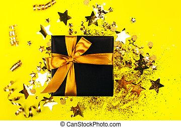 弓, 金, 贈り物, 黒, 箱