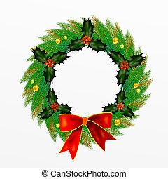 弓, le, クリスマス花輪, 西洋ヒイラギ