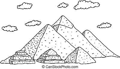 引かれる, イラスト, ピラミッド, 雲, いたずら書き, 隔離された, バックグラウンド。, 観光事業, 手, 白, エジプト, 黒, スケッチ, concept., ベクトル, ライン, 旅行