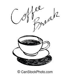 引かれる, コーヒーカップ, 手
