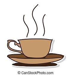 引かれる, コーヒーカップ, -, 手