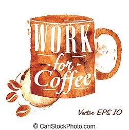引かれる, コーヒー, オフィス, 注ぎなさい, カップ