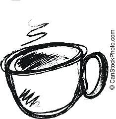 引かれる, コーヒー, 手, カップ
