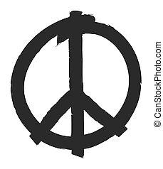 引かれる, シンボル, 平和, 手