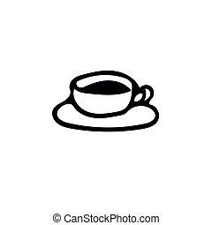 引かれる, スカンジナビア人, 飲みなさい, 受皿, 単純である, style., 手, いたずら書き, カップ