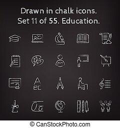 引かれる, セット, 教育, アイコン, chalk.