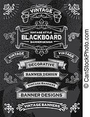 引かれる, セット, 旗, 手, 黒板