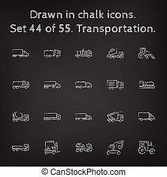 引かれる, セット, transpotration, アイコン, chalk.
