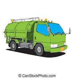 引かれる, -, トラック, ごみ, 手