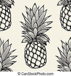 引かれる, パイナップル, sketch., 手