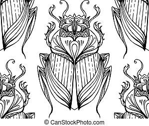 引かれる, パターン, 種族, scarab., seamless, 手, ベクトル, デザイン, 背景, いたずら書き...