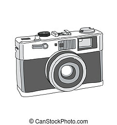 引かれる, ベクトル, カメラ, 手
