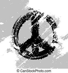 引かれる, ベクトル, 平和, 手, シンボル