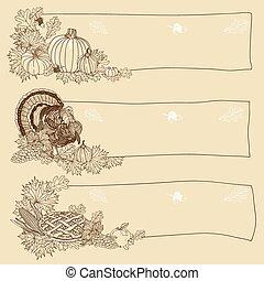 引かれる, ベクトル, 感謝祭, 手, 背景