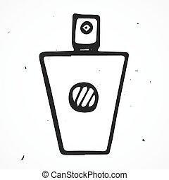 引かれる, ベクトル, 香水, びん, 手
