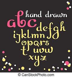 引かれる, ベクトル, alphabet., 手, letters.
