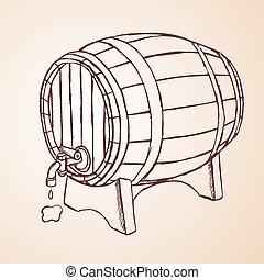 引かれる, ワイン, 大樽, 手