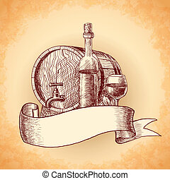 引かれる, ワイン, 背景, 手