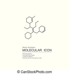引かれる, 分子, structure., ベクトル, 白, バックグラウンド。, 隔離された