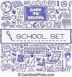 引かれる, 学校, セット, 手, アイコン