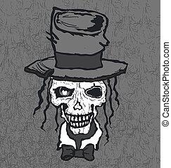 引かれる, 帽子, イラスト, 頭骨, 手