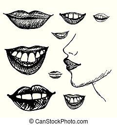 引かれる, 微笑, 唇, 手