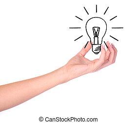 引かれる, 手の 保有物, 電球, ライト