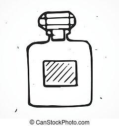 引かれる, 手, びん, 香水