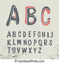 引かれる, 手, アルファベット