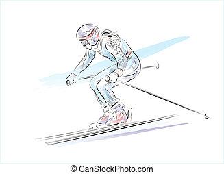 引かれる, 手, スケッチ, スキーヤー