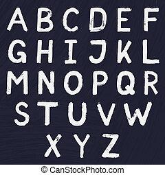 引かれる, 手, デザイン, アルファベット
