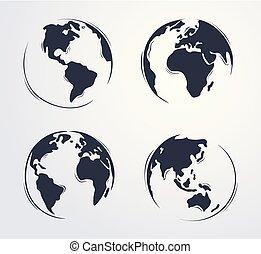引かれる, 手, 地球, 漫画, かわいい