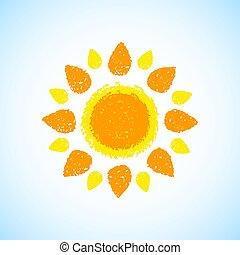 引かれる, 手, 太陽