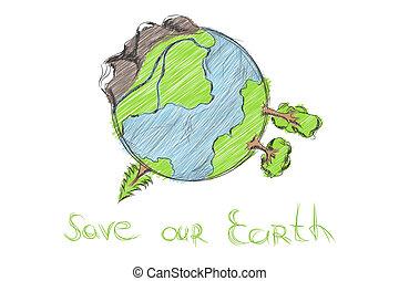 引かれる, 手, 漫画, 地球