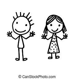 引かれる, 手, 漫画, 子供