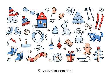 引かれる, 手, balls., いたずら書き, クリスマスツリー, スカーフ, ミトン, style., セット, 雪だるま, オブジェクト, 冬, スキー