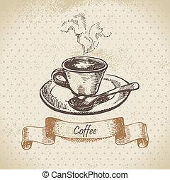 引かれる, 手, coffee., イラスト, カップ