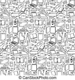 引かれる, 手, seamless, オフィス, パターン