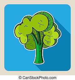 引かれる, 木。, 緑, 手