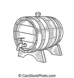 引かれる, 樽, 手