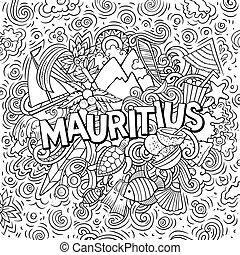 引かれる, 漫画, 面白い, 旅行, 手, mauritus, doodles, illustration., ...