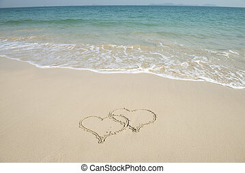 引かれる, 砂ビーチ, 2つの心