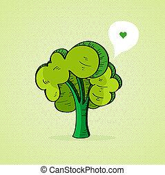 引かれる, 緑の木, 手
