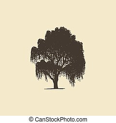 引かれる, 落葉性, silhouette., ∥あるいは∥, シラカバ, 手, ヤナギ, スケッチ, 木。, ベクトル